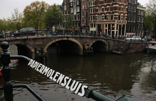 Grachtenkreuzung und Brücke in Amsterdam