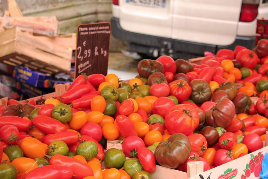 Bretagne, Frankreich, Markt, Gemüse, Tomaten, Vegan