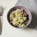 Rezept: Zucchini-Reis-Pfanne mit Basilikumtofu