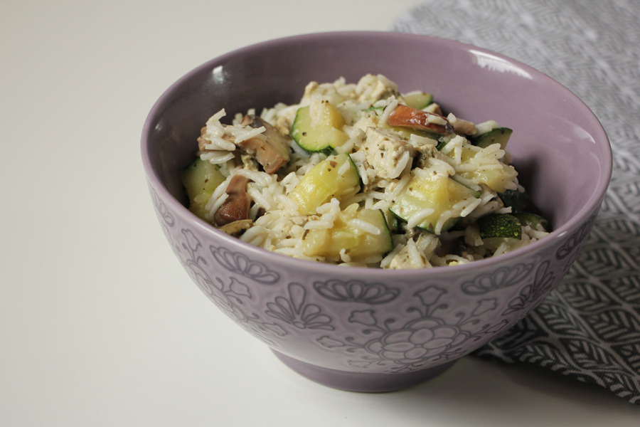 rezept zucchini reis pfanne mit basilikumtofu. Black Bedroom Furniture Sets. Home Design Ideas