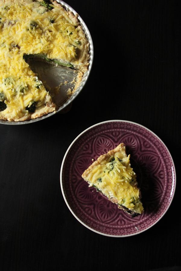 vegane Quiche mit Brokkoli und Pilzen 4