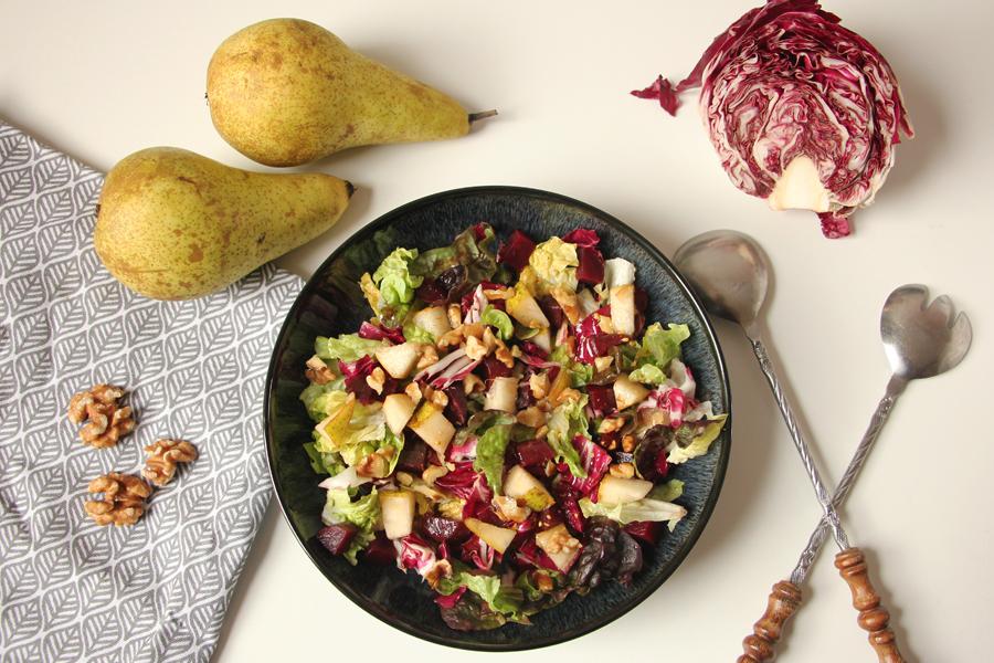Salat mit Radicchio, Rote Bete und Birne