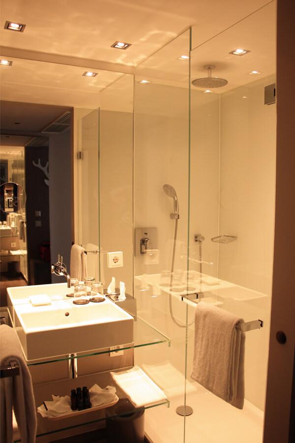 Das kleine Bad, mit Dusche.