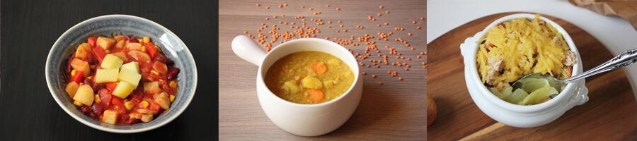 Gemüsechilli, Linsensuppe und Zwiebelsuppe