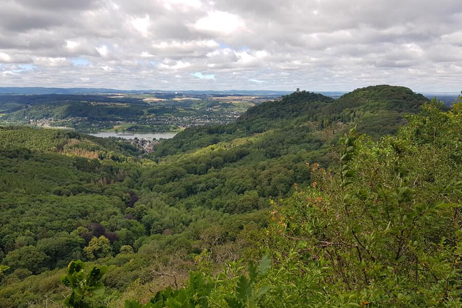 Aussicht auf den Drachenfels vom Geisberg.
