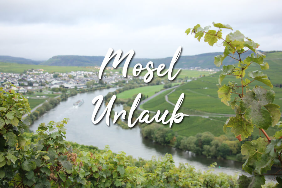 Mosel Urlaub Titelbild mit Weinranke und Schiff auf dem Fluss