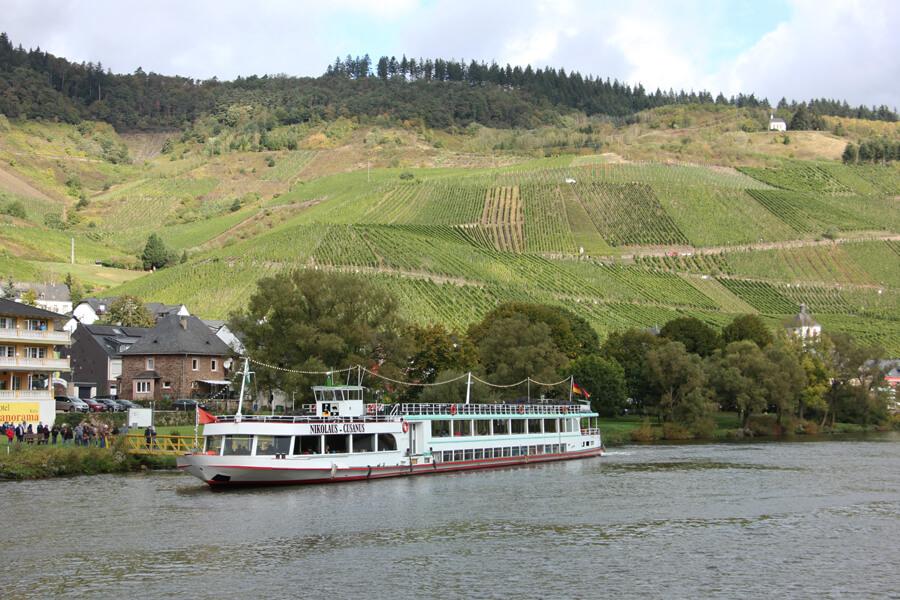 Schiff auf der Mosel vor Weinbergen