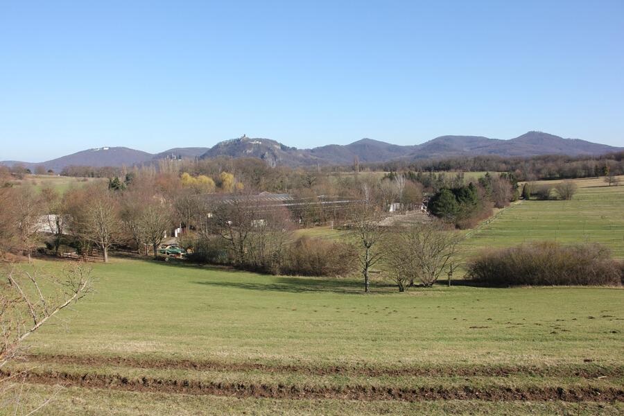 Blick auf das Siebengebirge vom Rodderberg.