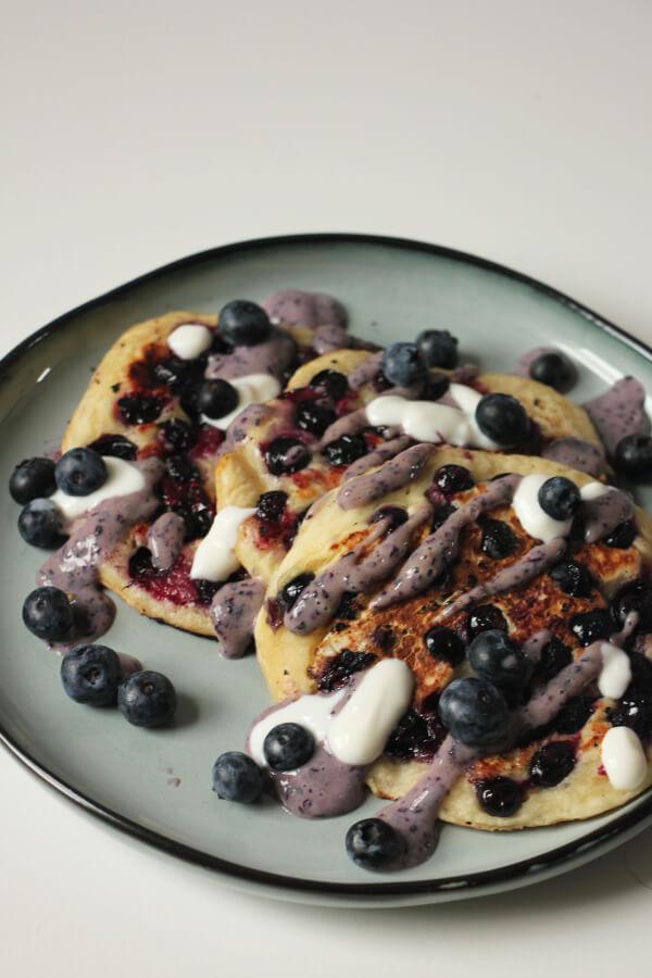 vegane Blaubeer Pancakes